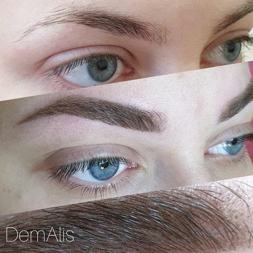 Перманентный макияж бровей Пудровая техника
